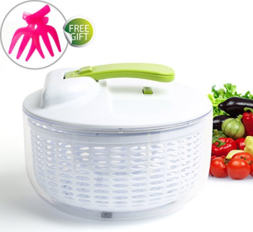 BPA Free Salad Spinner with 1-Touch Paddle Mechanism, Large 6.4 Quart Vegetable & Lettuce Drainer, Food Grade Plastic Salad Tosser, Dishwasher Safe and Multipurpose Kitchen Tool Plus 4Free Gifts (Egg Centrifuge compare prices)