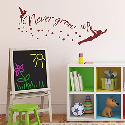Walt Disney Quote - Never Grow Up - Tinkerbell - Peter Pan Sayings Vinyl Wall Decal For KindergartenÃ'£Ã'šSmall,BlackÃ'£Ã'© by WallsUp