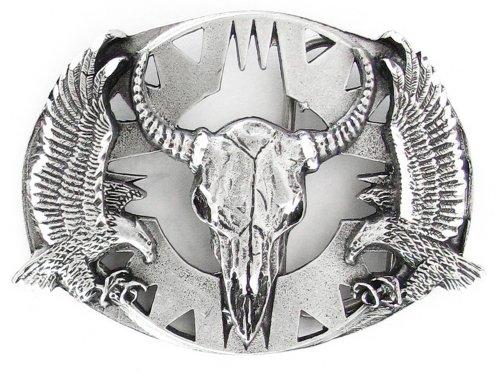 Pewter Belt Buckle - Buffalo Skull/Eagles (Diamond Cut) - Pewter Belt Buckle