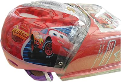 Disney Cars Girls / Kids Bike Skate Padded Helmet & Knee Pads Set Pink / Red by Disney - PTI Sports