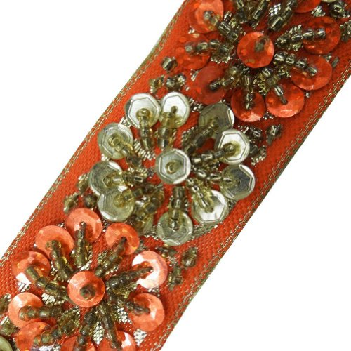 Orange Beaded Trim Sequin Decorative Women Border Lace Sewing Craft 3 Yd