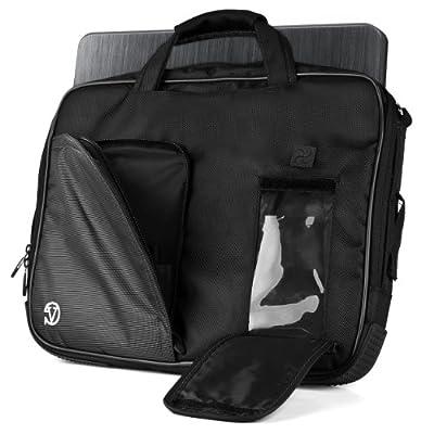 VanGoddy Pindar Sling - JET DARK BLACK Pro Deluxe Shoulder Messenger Carrying Bag for Lenovo Yoga 3 & 2 13.3 inch Laptop + White Hands-free Earphones Headphones w/ Microphone