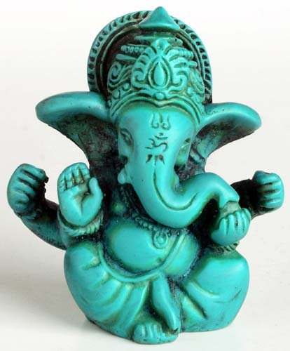 Figure del Buddha/Billy Eroe Ganesha Ganapati Ganesh Statue in resina 6,5 cm turchese