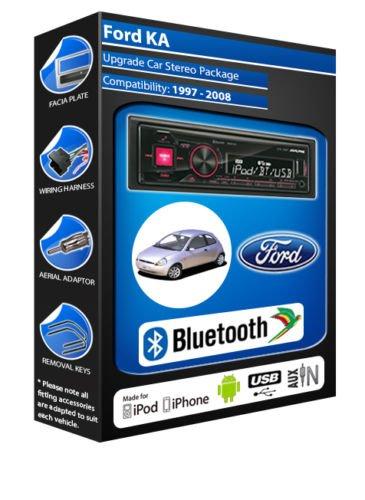 Ford KA Argenté autoradio Alpine UTE 72BT-kit mains libres Bluetooth pour autoradio stéréo