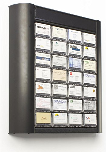 Displays2go 28-Pocket Wall Mount Business Card Holder Rack, Separate Channel for Header - Black Aluminum Fixture with Polycarbonate Dispensers (BCCDSP28A) (Tamperproof Dispenser compare prices)