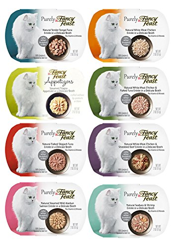 Fancy Feast Appetizers Variety Pack - 8 Flavors (Steamed Wild Alaskan Salmon, White Meat Chicken, Seabass & Shrimp, White Meat Chicken & Flaked Tuna, Tender Tongol Tuna, White Meat Chicken & Shredded Beef, Steamed Tilapia, and Flaked Skipjack Tuna) - 2 Ounces Each (8 Total Appetizers)