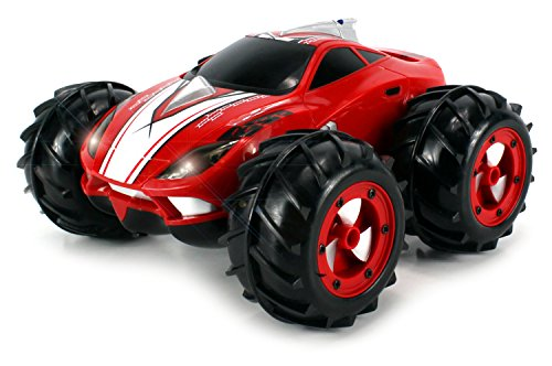 Velocity Toys Amphibious Assault Coupe Electric Rc Stunt Car Rtr, Works On Both Water And Land, 360 Degree Spins, Working Headlights (Colors May Vary)