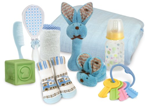 Stephan Baby Boo Bunnie Rattle and Swaddle Blanket Soothe and Amuse Gift Set, Blue