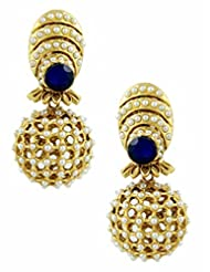 The Art Jewellery - Rajwadi Net Earrings With Blue Stone & Moti