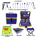 Barbecue Grilling Set with 22 Pieces including Grill Tools, Stainless Steel Flatware, Bowls, Grill and Chair - all Portable for Camping, Picnic, RV, with Carrying Case (Navy Blue)
