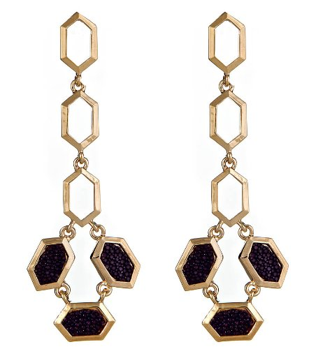 Kara Ross Hexagon Purple Stingray Skin Earrings
