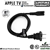 Apple TV (1st, 2nd & 3rd Generation) Compatible Power Cord [8' Long - Bulk Packed]