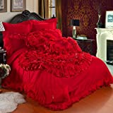 DIAIDI Home Textile,Korean Ruffle Bedding Set,Beautiful Luxury Roses Wedding Bedding Set Queen Size,10Pcs