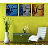 3 Painting Sets Of A Beautiful Set Of Three Faces Of Budhha Canvas Oil Painting Print With Wooden Mounting | Suryastores CANVAS CLOTH PAINTING PRINT , Size 31x31x5 Cms