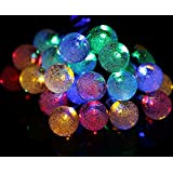 WED Solar Powered 20ft 40 LED Crystal Ball Waterproof Outdoor String Lights, Globe Fairy String Lights For Outside...