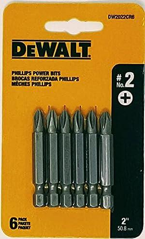 (5-PACKS) Dewalt DW2022CR6 #2 PHILLIPS 2 BIT - 6PK CARD
