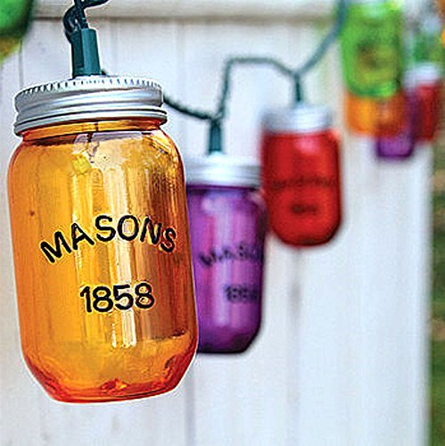 Mason Jar Colorful String Party Lights 8.5 Feet - Hillbilly Indoor Outdoor Redneck Decor
