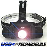 Atlas® Lifetime Warranty - 570 Lumen USB Rechargeable Headlamp Flashlight - Two FREE Rechargeable Batteries, Fire Starter Kit, Carrying Bag - Made for Camping, Running, Hunting, Fishing, Cycling, Hiking, Reading - Micro USB Charging Cable Included - Limited Time Offer - Try RISK-FREE!