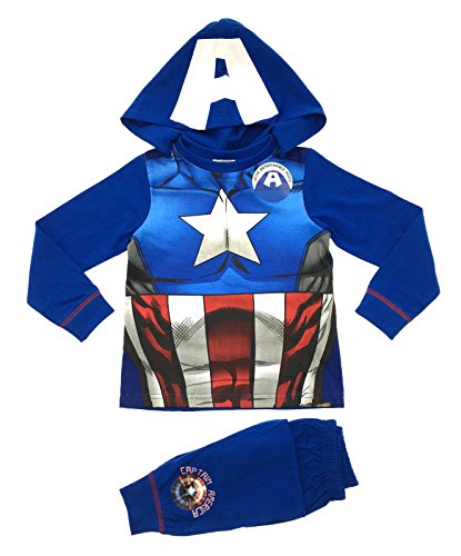 Per bambini travestimento costume play/pigiama pigiama Pj Set Pigiama da donna Buzz Lightyear Superman Batman Spiderman, taglia 1 - 8 anni blu Captain America 2-3 anni