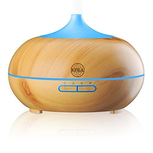 キンガ(KINGA)アロマ ディフューザー 超音波 加湿器 空気清浄機 多色変換 LEDライト付き 芳香器 アロマライト 各場所用 時間設定 連続加湿 (300ml 木目調 白茶色)