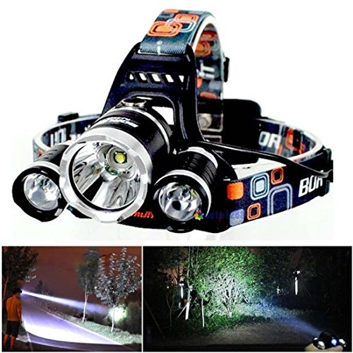 Greatest Popular 3x LED 5000Lm Headlamp Rechargeable Big Headlight Super Bright Color Black (Glass Blowing Starter Kit compare prices)