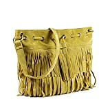 Di Grazia Italian Suede Leather Fringe Tassel Women's Shoulder Sling Satchel Beach Handbag - Apricot