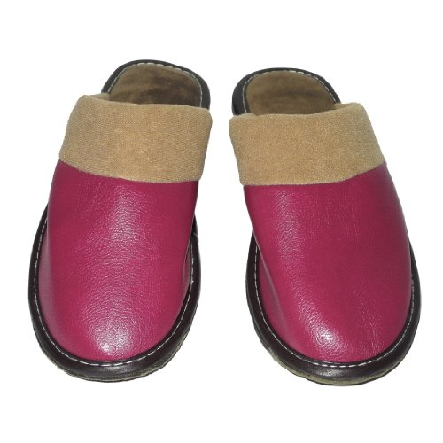 Image of Womens Open Back Lounge / House Slippers with Leather Toe and Suede Sole - Light Purple (B006JXZRR8)