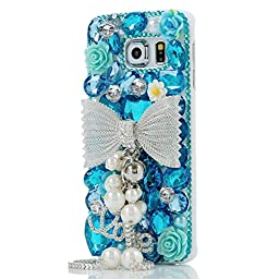 Samsung Galaxy S7 Edge Case, Sense-TE Luxurious Crystal 3D Handmade Sparkle Diamond Rhinestone Clear Cover with Retro Bowknot Anti Dust Plug - Bowknot Pearl Pendant Flowers LOVE / Blue