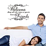MING Welcome May All Who came as Guests Leave as Friends Wall Stickers Decal for Living Room Sitting Room Cafe Parlor Meeting Room Reception Room Decoration
