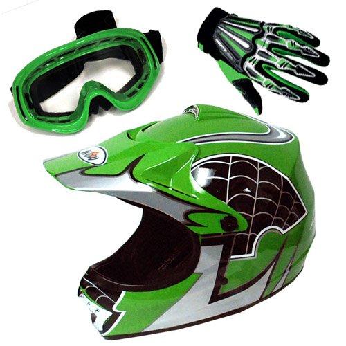 Motocross MX BMX Youth Spider Green Helmet (Size: Medium) + Goggle ...