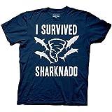 Sharknado Blue T-Shirt Adult: I Survived Sharknado