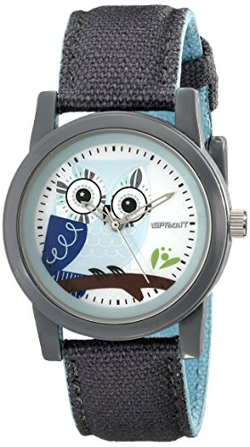 Sprout Women's ST/5512MPGY Grey Organic Cotton Strap Blue Owl Dial  Watch