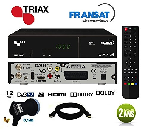 Triax - Triax THR 7600 HD Récepteur satellite + Carte FRANSAT + Câble HDMi + LNB Single Best Germany 0,1dB - THR7600HG101