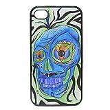 Cover per iPhone 4-4S Morbida Silicone TPU Teschio Messicano Disegno Acquerello by Vittorio Curci
