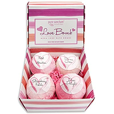 Best Cheap Deal for Bath Bombs Gift Set - Luxury Bath Fizzies - Lush Size 6oz Natural Bath Balls - US Made - Love Bomb by pure sanctum - Free 2 Day Shipping Available