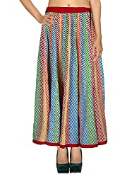 Bandhej Casual Skirt Cotton Multicolor Striped Patchwork For Women By Rajrang