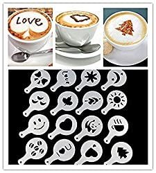 DivineXt 16Pcs/set Coffee Milk Cake Cupcake Stencil Template Mold Coffee Barista Cappuccino Template Strew Pad Duster Spray Tools