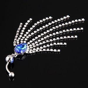 SODIAL(R) Piercing Ombligo Vientre 316L acero quirurgico diamante Cristal Azul Oscuro   Revisión del cliente