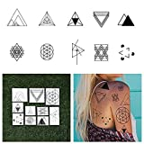 Tattify Triangle Shape Temporary Tattoos - I'd Like to See You Tri (Set of 20 Tattoos - 2 of each Style) - Individual Styles Available - Fashionable Temporary Tattoos (Color: An I'd Like to See You Tri Set, Tamaño: Small)