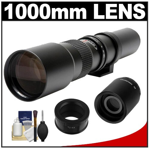Samyang 500Mm F/8.0 Telephoto Lens (T Mount) With 2X Teleconverter (=1000Mm) + Cleaning Kit For Samsung Nx20, Nx200, Nx210 & Nx1000 Digital Cameras