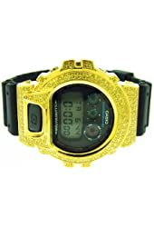 Men's Casio G Shock High Quality Cz Yellow Crystal Watch Yellow Case Black Face