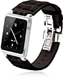 iWatchz STLBLKDYTP Timepiece Stainless Leather Watch Strap for iPod nano 6th Gen with Deploy-Black