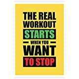 "Lab No. 4 The Real Workout Starts When You Want To Stop Gym Motivational Quotes Poster Size A3 (16.5"" X 11.7"")..."