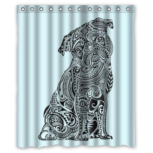 custom-waterproof-fabric-bathroom-shower-curtain-pug-dog-60w-x-72h