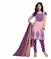 Neerja creation womens cotton Unstiched Dress material(K-1016_Purple)