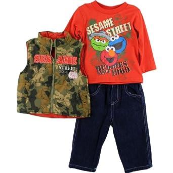 "Sesame Street ""Buddies"" 3 pc Vest, Top & Denim Pants Set 2T-4T (2T)"