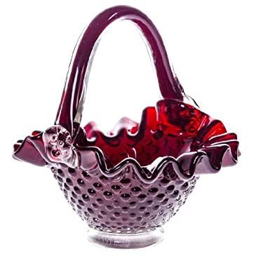 Glass Hobnail Candy Basket