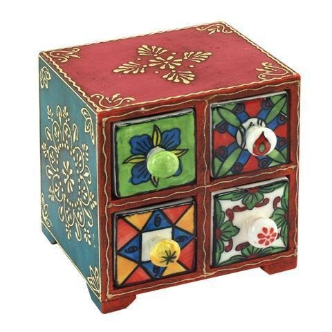 Buy Spice Rack Colours, Wood, 4 Drawers 14x14 cm from Amazon