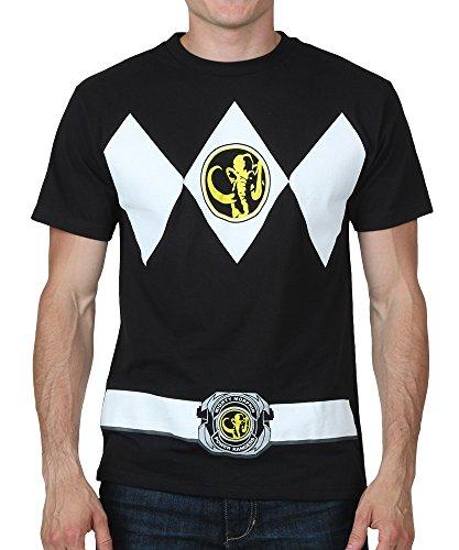 Mighty Morphin Power Rangers Costume Men's T-shirt (Large, Black) (Black Ranger Shirt compare prices)