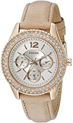 Fossil Women's ES3816 Stella Multifunction Leather Watch - Light Brown